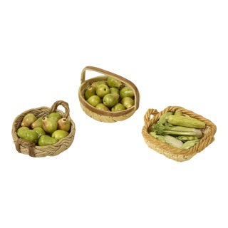 Mid 20th Century Miniature Ceramic Baskets of Fruit and Vegetables - Set of 3 For Sale