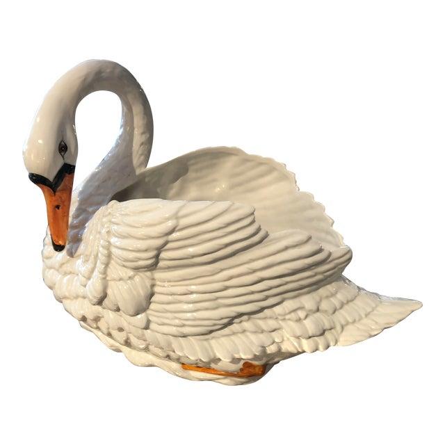 Italian Majolica Swan Planter - Image 1 of 10