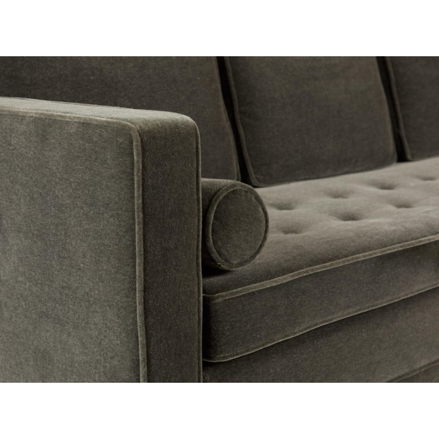 Mid-Century Modern Tuxedo Sofa in Mohair For Sale - Image 3 of 7