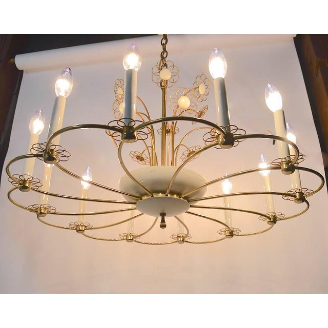 Floral Chandelier by Lightolier After Tynell For Sale - Image 9 of 11