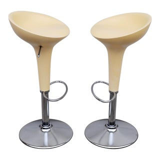 1990s Vintage Original Magis Bombo Peach Bar Stools by Stefano Giovannoni- A Pair For Sale