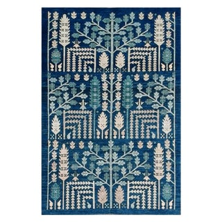 Origins in Indigo Afghan Rug - 5′ × 7′ For Sale
