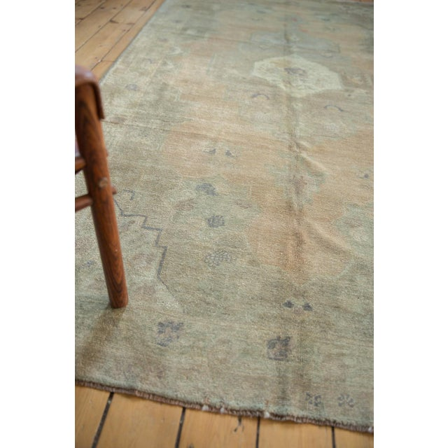 "White Vintage Distressed Oushak Carpet - 5'4"" x 9'11"" For Sale - Image 8 of 14"
