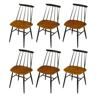 Six Ilmari Tapiovaara Teak and Black Lacquer Dining Chairs For Sale