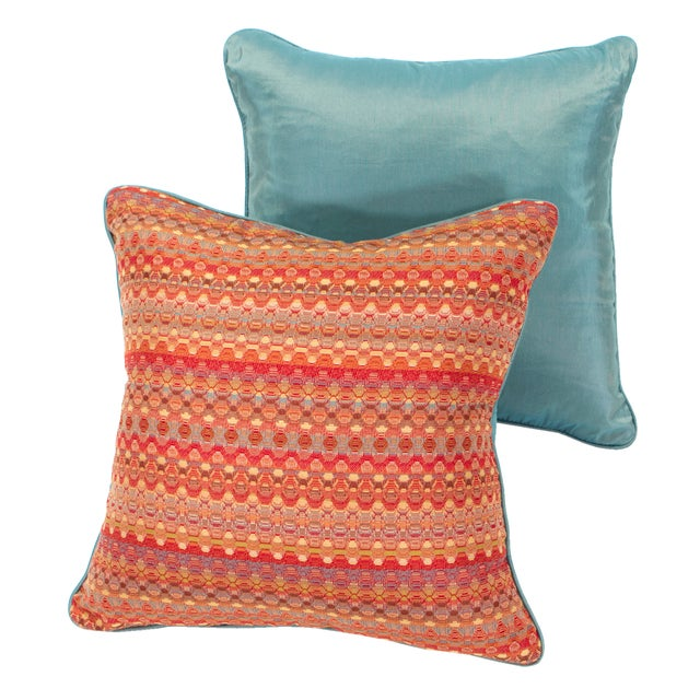 Poppy & Aqua Silk Pillows - A Pair - Image 1 of 8