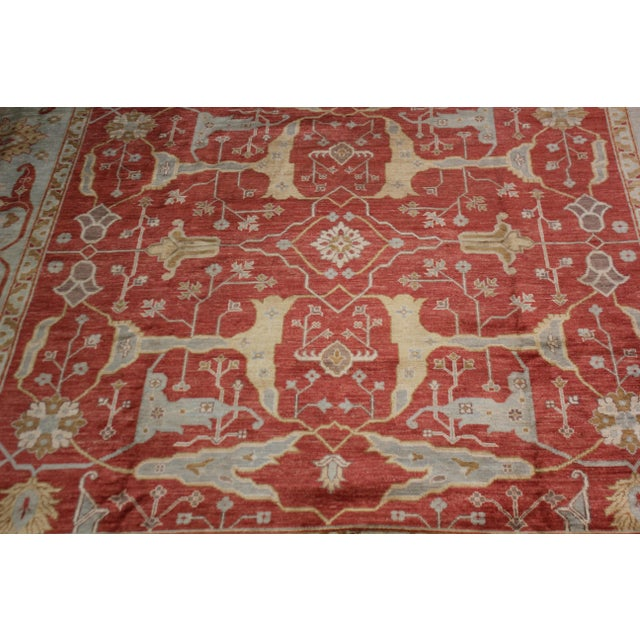 Hand Knotted Fine Oushak Rug - 12' X 12' For Sale - Image 4 of 5