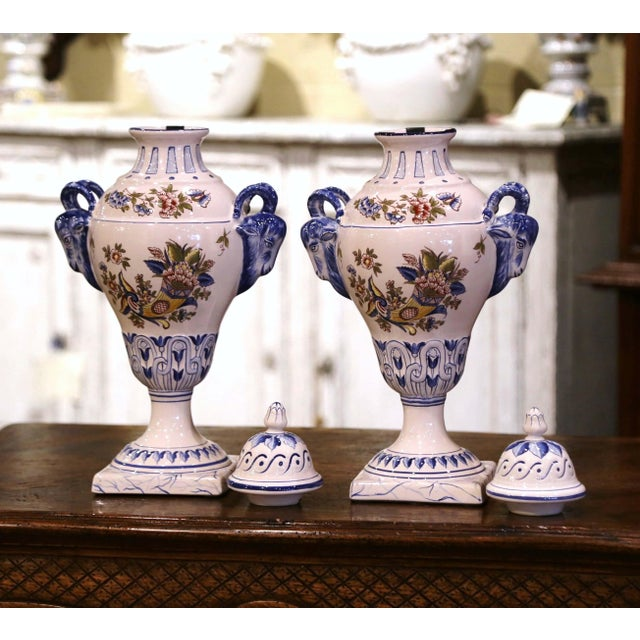 """Pair of Mid-Century French Hand Painted Faience """"Saint Clement"""" Urns With Lids For Sale In Dallas - Image 6 of 13"""