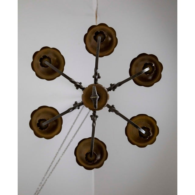 Metal Renaissance Revival Six-Light Candlestick Chandelier For Sale - Image 7 of 11