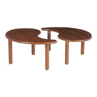 1950s Danish Teak Double Kidney Shaped Coffee Table For Sale