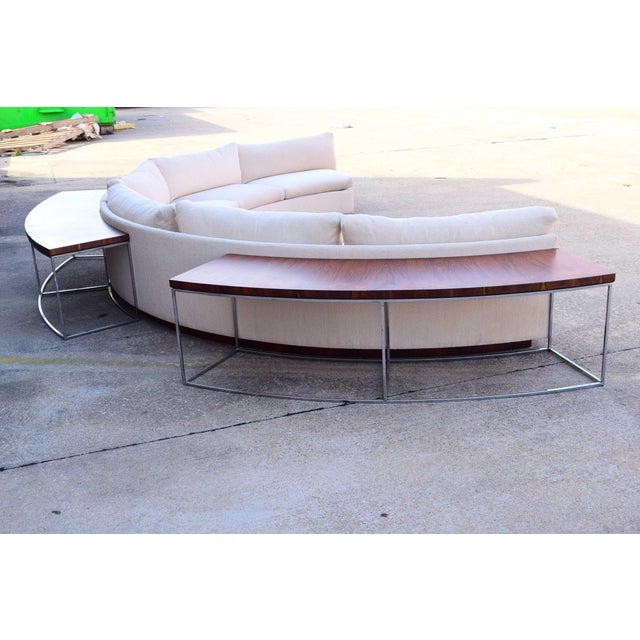 Milo Baughman 1960s Vintage Milo Baughman Semi-Circular Sofa With Rosewood Tables For Sale - Image 4 of 13