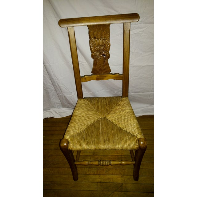 1970s French Country Hand Carved Rush Seat Chairs - Set of 4 For Sale - Image 9 of 13