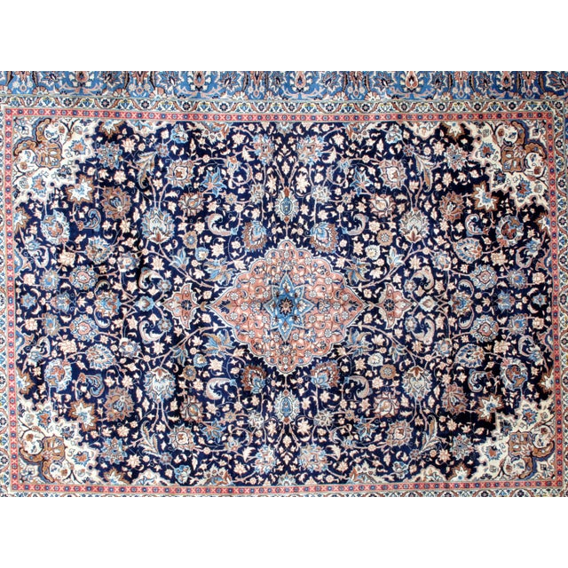 "Leon Banilivi Navy Persian Kashan Carpet - 9'8"" X 12'6"" - Image 4 of 6"