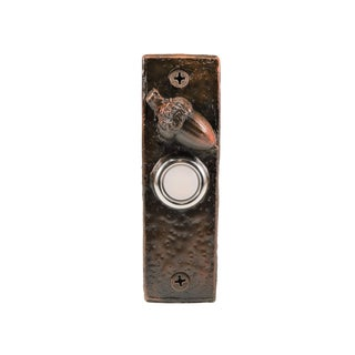 Slim Acorn Doorbell with Traditional Patina For Sale