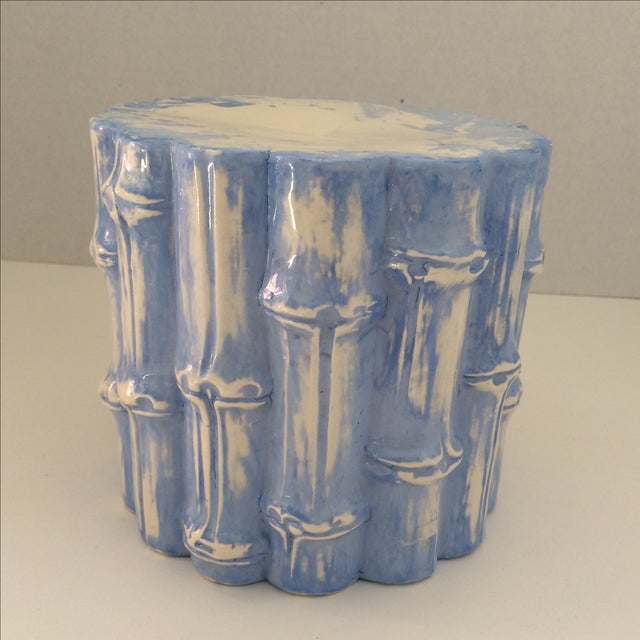 Hand Painted Blue Bamboo Cache Pot - Image 4 of 5
