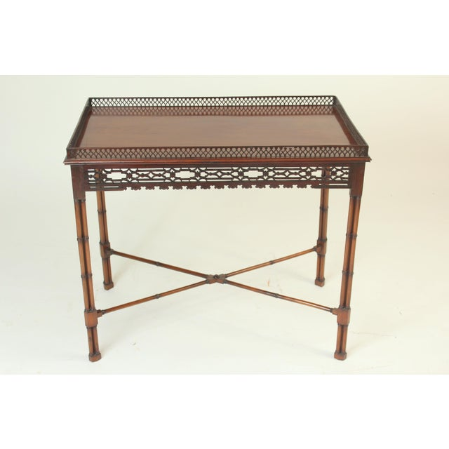 Chinese Chippendale Style Mahogany Tea Table For Sale - Image 4 of 13