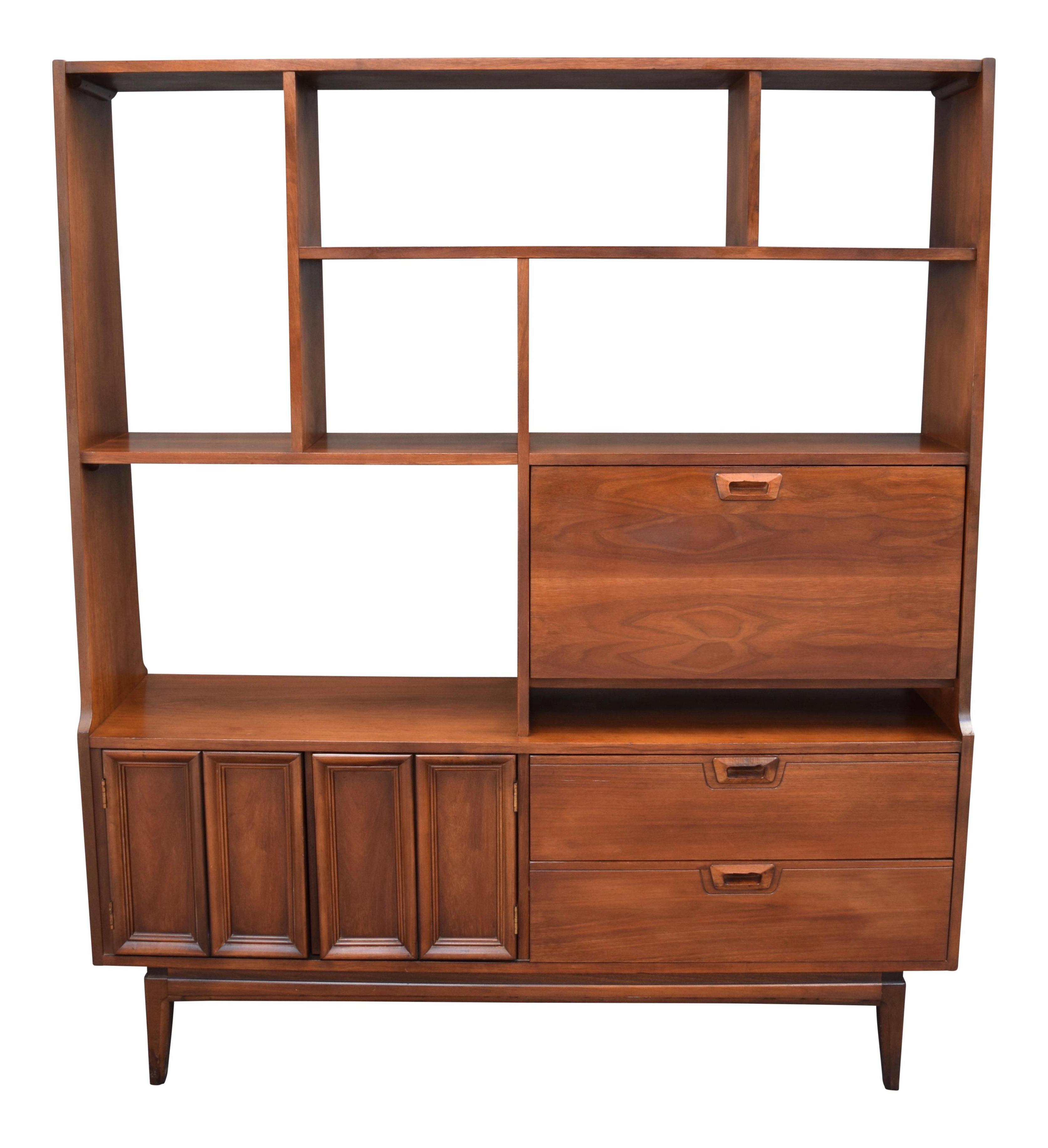Vintage Mid Century Modern Walnut Bookshelf Cabinet Room Divider