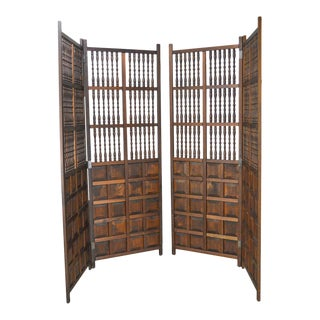 South West Spanish Renaissance Style Tall Spindled Room Dividers Folding Screens - a Pair