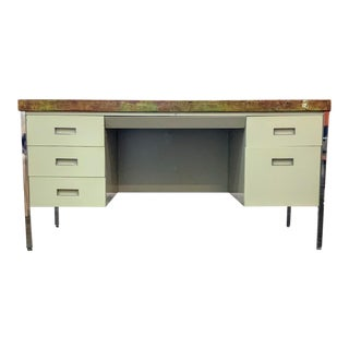 Vintage Allsteel Executive Tanker Desk With Custom Stained Concrete Top in Warm Tones For Sale