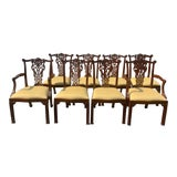 Image of Maitland Smith Dining Chairs Mahogany Chippendale Dining Chairs - Set of 8 For Sale