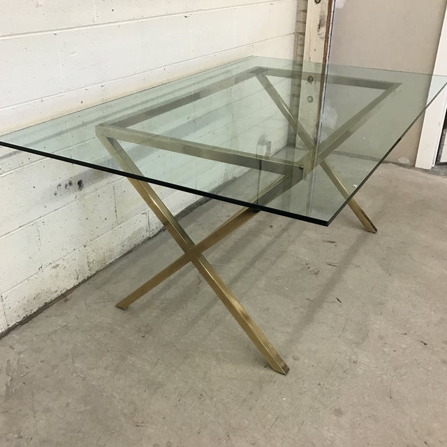 Contemporary Brass & Glass Dining Desk Table For Sale - Image 4 of 11