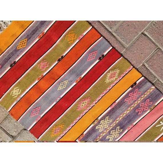 "Vintage Turkish Kilim Runner - 1'10"" X 7'6"" - Image 5 of 6"