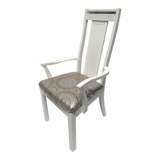 Contemporary Silver Trimmed White Desk Arm Chair