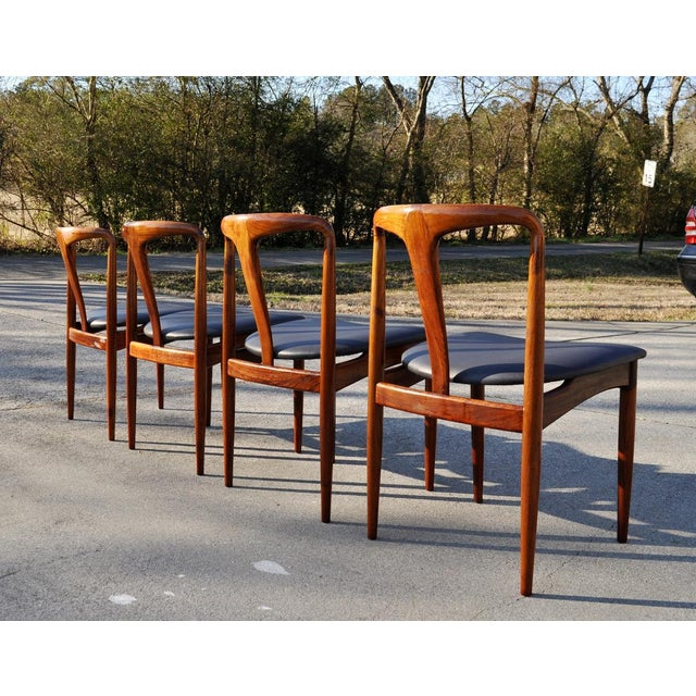 1960s 1960s Vintage Johannes Andersen Brazilian Rosewood Danish Chairs- Set of 4 For Sale - Image 5 of 11