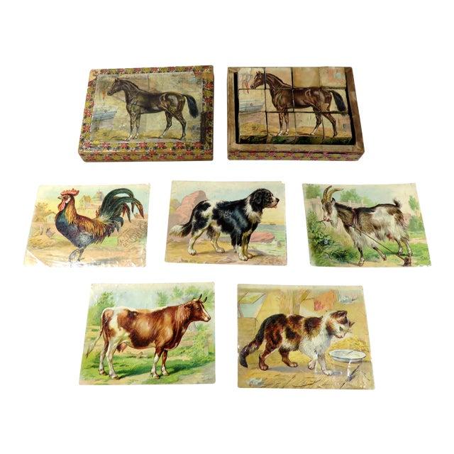 Antique Childs Wood Block Puzzle Set For Sale