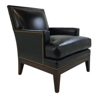 Pearson Transitional Black Leather Victoria Club Chair #328 For Sale