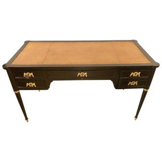 Jansen Style Ebony Louis XVI Inspired Ebonized Leather Top Desk Bronze-Mounted For Sale