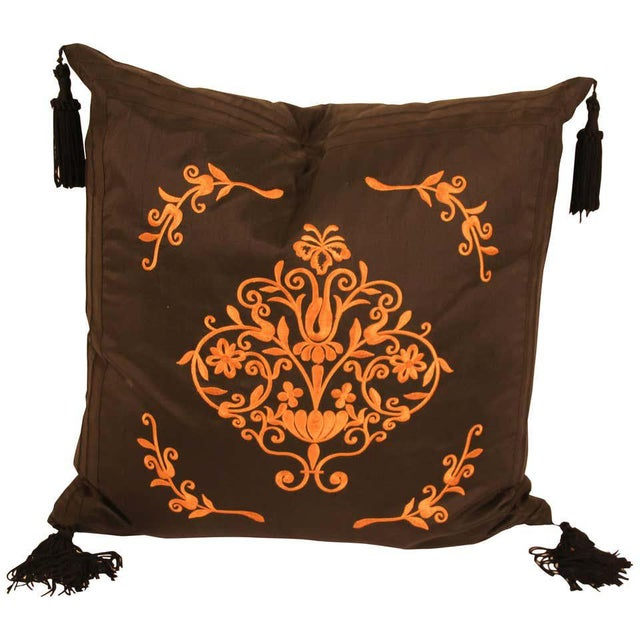 Embroidered Black Silk Decorative Throw Pillow with Tassels For Sale - Image 11 of 11