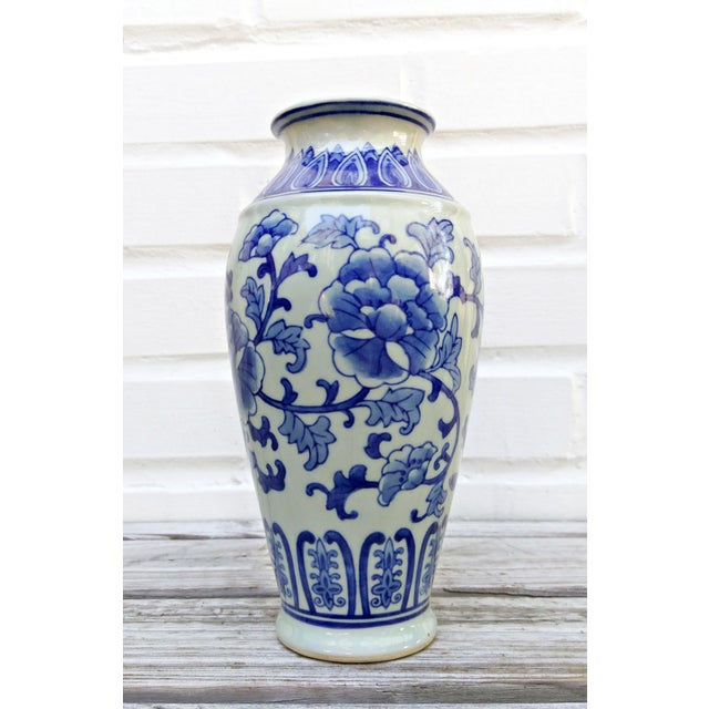 Mid 20th Century 20th Century Asian Blue and White Floral Ceramic Vase For Sale - Image 5 of 5