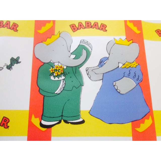 French Babar Wallpaper or Adhesive Paper - 1.5 Yrd For Sale - Image 7 of 8