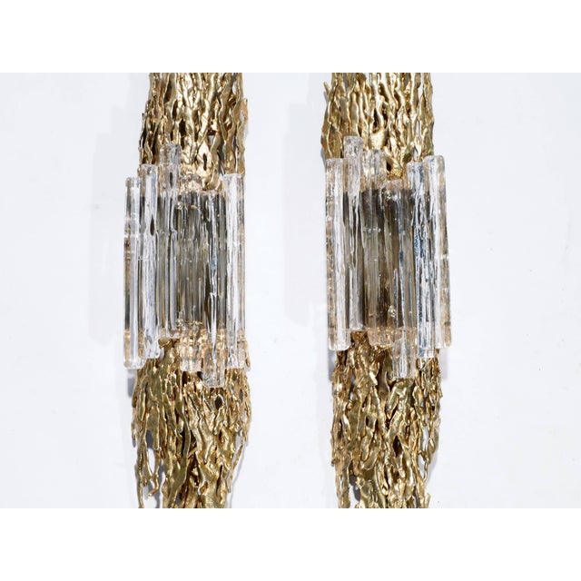 1970s Large Pair of Claude Victor Boeltz Bronze and Glass Sconces, 1970s For Sale - Image 5 of 9