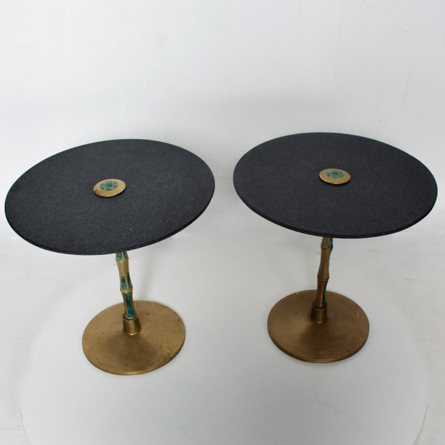 Black Pepe Mendoza Mid-Century Mexican Modernist Bronze Malachite Black Side Tables - a Pair For Sale - Image 8 of 11