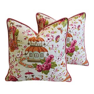 Designer Custom Chinoiserie Pagoda & Floral Feather/Down Pillows - Pair For Sale