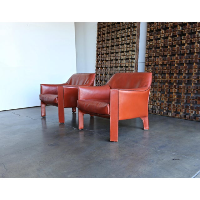 Mario Bellini for Cassina Large Cab Lounge Chairs - a Pair For Sale - Image 13 of 13