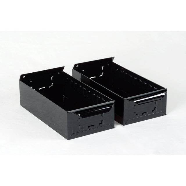 1950s 1950s Card File Drawers, Refinished in Gloss Black, Two Available For Sale - Image 5 of 5
