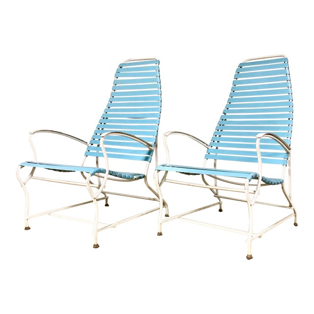 Pair of Mid Century Modern High Back Patio Lounge Chairs For Sale