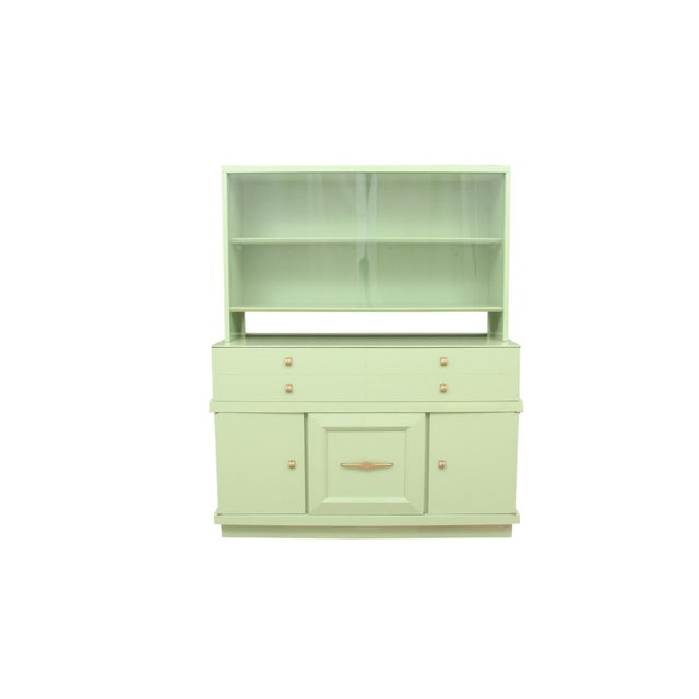 An authentic midcentury sideboard with display cabinet made by Basic Witz of Waynesboro Vaginia. Newly lacquered in...