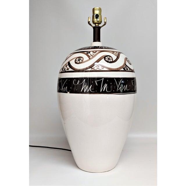 Ceramic Vintage 1970s Cream & Brown Ceramic Table Lamp For Sale - Image 7 of 13