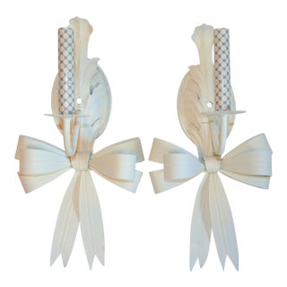 (Final Markdown) Vintage White Tole Swag Sconces - a Pair For Sale