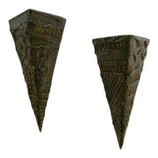 Pair of Paul Evans Brutal Wall Sculptures/Shelves For Sale
