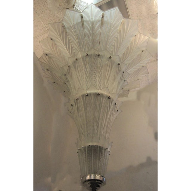 Mid 20th Century Palatial, Gigantic French Art Deco Art Glass Chandelier by Sabino For Sale - Image 5 of 13