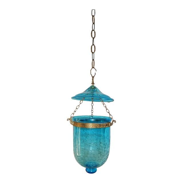 English Cobalt Blue Bell Jar Lantern Chandelier For Sale