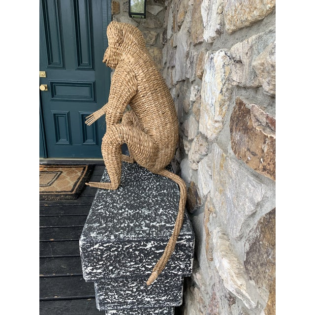 Amazing workmanship on this fun guy. A great touch to any room and what a conversation piece this will be. Made of rattan...