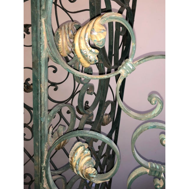 Antique Green Wrought Iron Folding Divider For Sale - Image 6 of 12