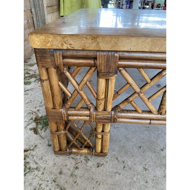Coffee Chinese Chippendale Fretwork Rattan Coffee Table For Sale - Image 8 of 13