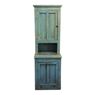 Early 20th Century American Primitive Pine Wood Painted Farmhouse Hutch For Sale