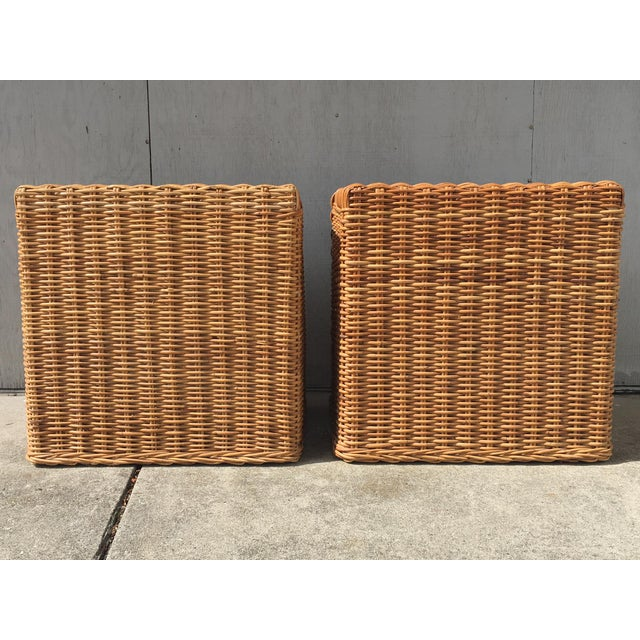 1970s Wicker Works Rattan Campaign Style Nightstands-a Pair For Sale - Image 6 of 7